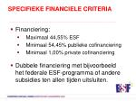 specifieke financiele criteria1