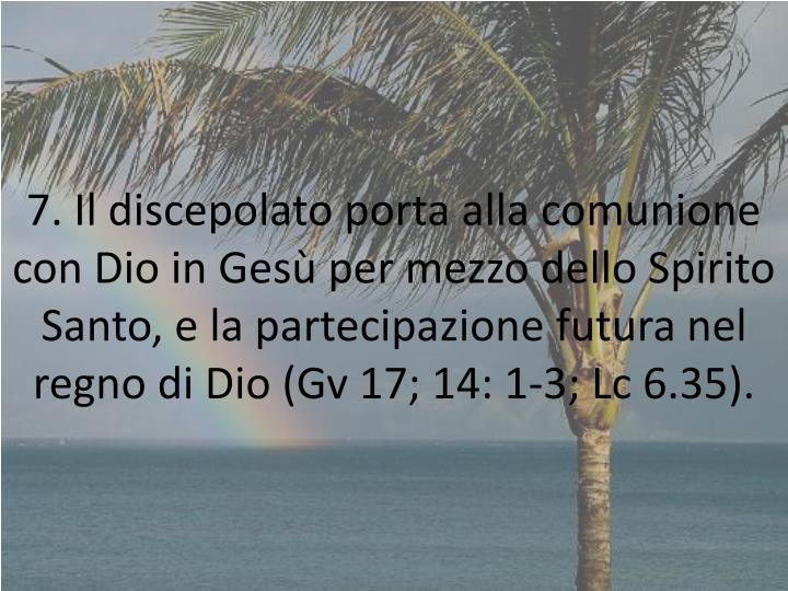 7. Il discepolato porta alla comunione con Dio in Gesù per mezzo dello Spirito Santo, e la partecipazione futura nel regno di Dio (Gv 17; 14: 1-3; Lc 6.35).