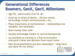 generational differences boomers genx geny milleniums