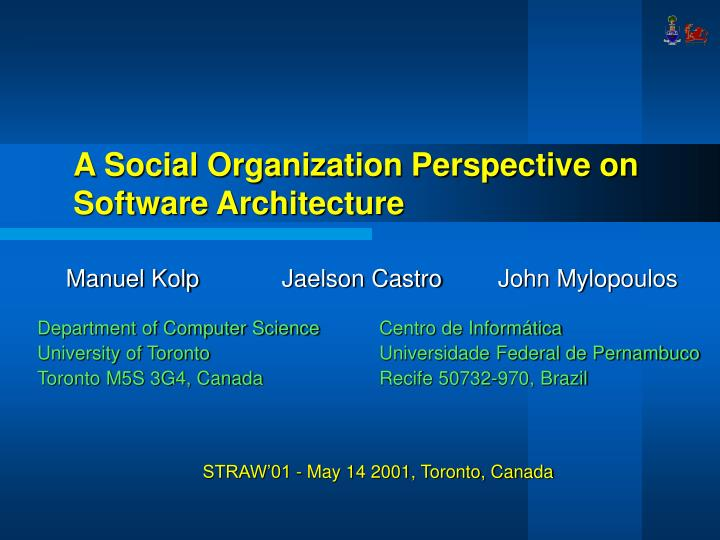 a social organization perspective on software architecture n.