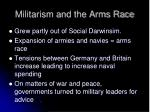 militarism and the arms race