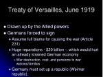 treaty of versailles june 1919