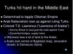 turks hit hard in the middle east