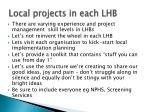 local projects in each lhb