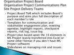organisation project board organisation project communications plan site project delivery teams
