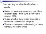 democracy and radicalisation results