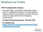 workshops and training
