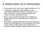 il sistema italia non meritocratico