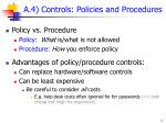 a 4 controls policies and procedures