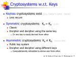 cryptosystems w r t keys