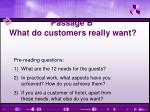 passage b what do customers really want