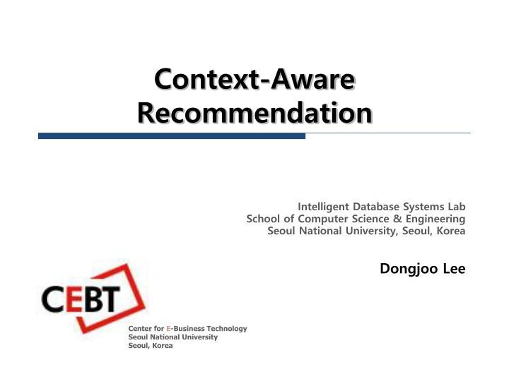 context aware recommendation n.