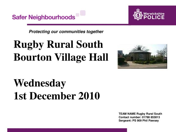 rugby rural south bourton village hall wednesday 1st december 2010 n.