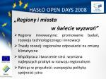 has o open days 2008