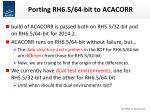 porting rh6 5 64 bit to acacorr