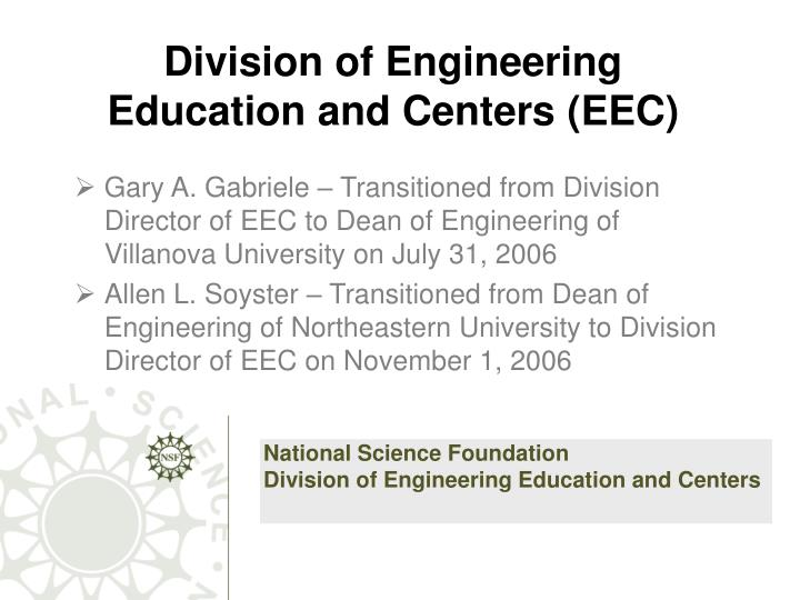 division of engineering education and centers eec n.