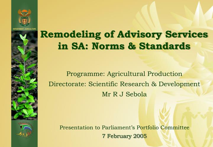 remodeling of advisory services in sa norms standards n.