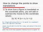 how to change the points to show translations