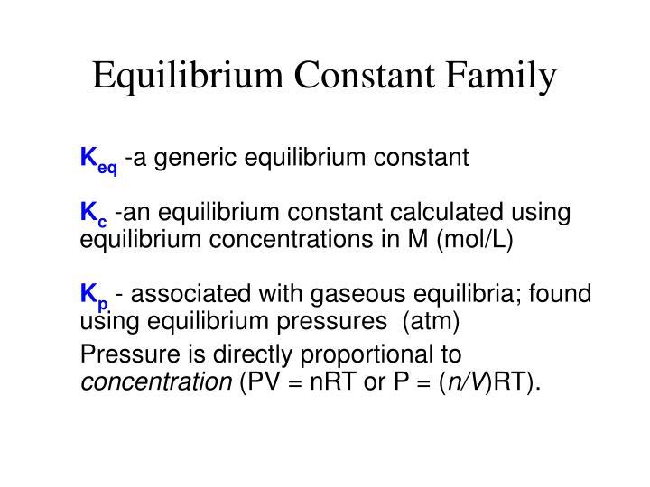 Equilibrium Constant Family