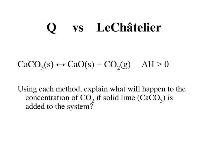 Q     vs    LeChâtelier