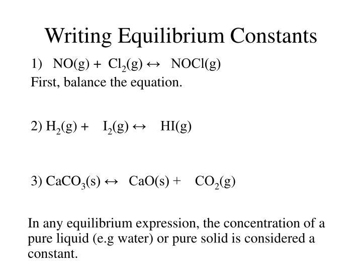 Writing Equilibrium Constants
