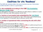 conditions for site readiness