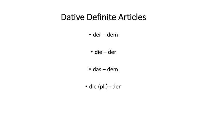 Dative Definite Articles
