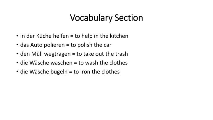 Vocabulary section
