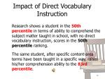 impact of direct vocabulary instruction
