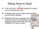 picking terms to teach