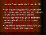 may is exercise is medicine month