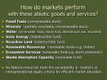how do markets perform with these abiotic goods and services