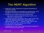 the memt algorithm