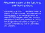 recommendation of the taskforce and working group