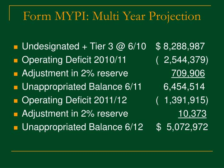 Form MYPI: Multi Year Projection