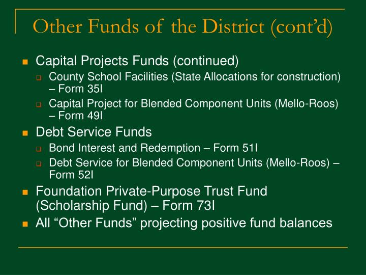 Other Funds of the District (cont'd)