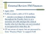 external review fm finances