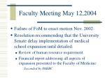 faculty meeting may 12 2004