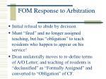 fom response to arbitration