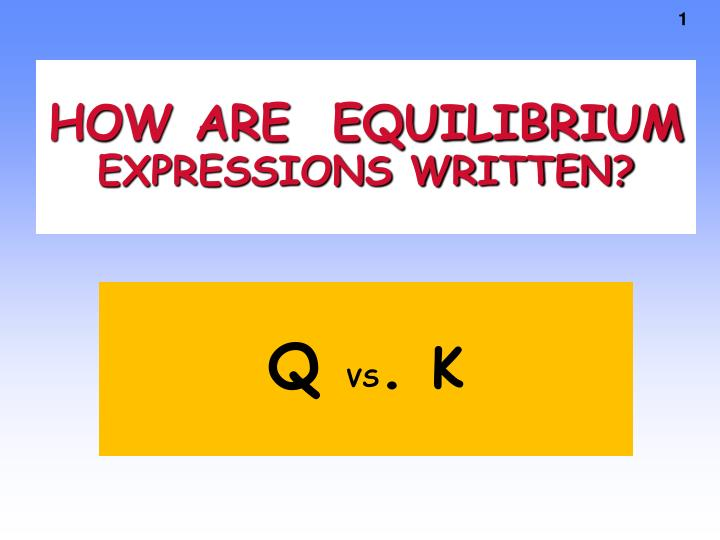 how are equilibrium expressions written n.