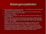 betalingsmodaliteiten