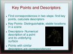 key points and descriptors