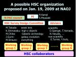 a possible hsc organization proposed on jan 19 2009 at naoj