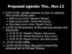 proposed agenda thu nov 12