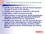 insight microsoft healthcare and life sciences group
