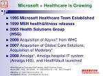 microsoft healthcare is growing