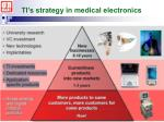 ti s strategy in medical electronics