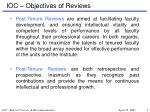 ioc objectives of reviews