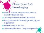 clean up and safe housekeeping