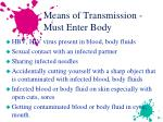 means of transmission must enter body